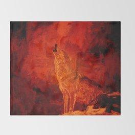 Fire Wolf Throw Blanket