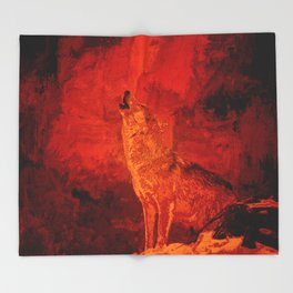 Fire Wolf Throw Blanket