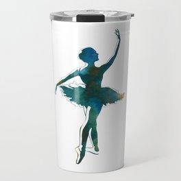 Ballerina Dancer Tutu Watercolor Bun Dance Ballet Travel Mug