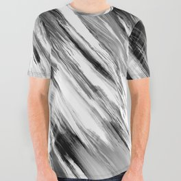 Black and White Painted Tie Dye Multi Media Cool Texture Trending Popular Modern All Over Graphic Tee
