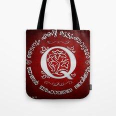 Joshua 24:15 - (Silver on Red) Monogram Q Tote Bag