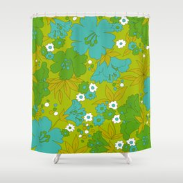 Green, Turquoise, and White Retro Flower Design Pattern Shower Curtain