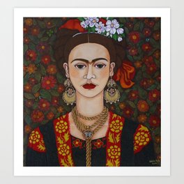 Frida with butterflies Art Print