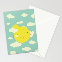 Miss Sunshine in clouds Stationery Cards