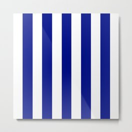 Phthalo blue - solid color - white vertical lines pattern Metal Print