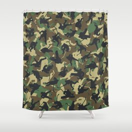 Ice Hockey Player Camo Woodland Forest Camouflage Pattern Shower Curtain