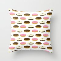donuts Throw Pillows featuring Donuts by Sara Showalter