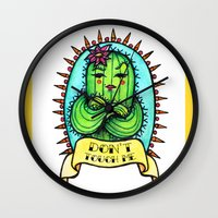 sassy Wall Clocks featuring Sassy Cactus by LittleWillowArt