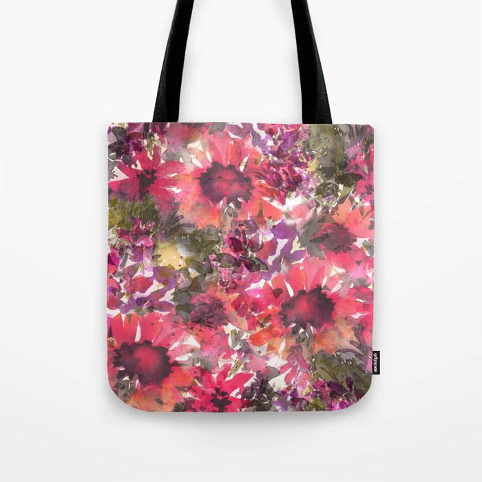 Ruby Red Sunflowers Tote Bag