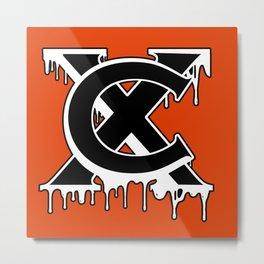 """XC"" Drip Logo Black/White/Orange Metal Print"