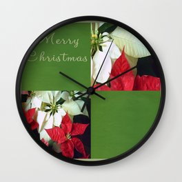 Mixed Color Poinsettias 2 Merry Christmas Q5F1 Wall Clock