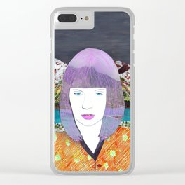The girl by the lake by Veronique de Jong Clear iPhone Case