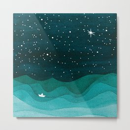 Starry Ocean, teal sailboat watercolor sea waves night Metal Print
