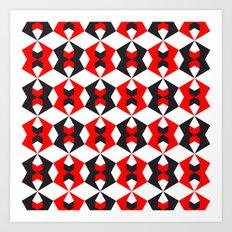 Red hexagon pattern Art Print