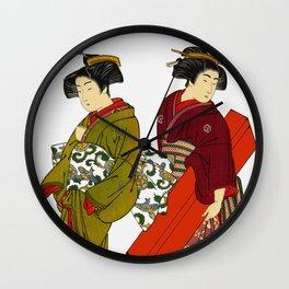 Vintage Japanese Geisha Girls Wall Clock