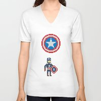 steve rogers V-neck T-shirts featuring Steve Rogers by Bryan