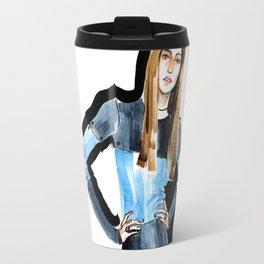 Fashion #16. Long-haired girl in fashionable dress-transformer Travel Mug