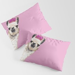 Llama Queen in Pink Pillow Sham