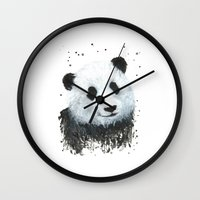 percy jackson Wall Clocks featuring Percy the Panda by Linden Reekie