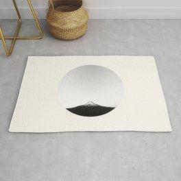 Mid Century Modern Round Circle Photo Minimalist Black And White Mount Fiji Volcano Mountain Rug