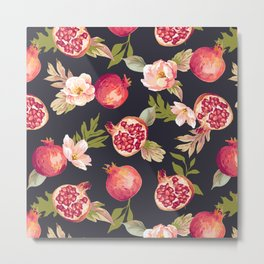 Pomegranate patterns - floral roses fruit nature elegant pattern Metal Print