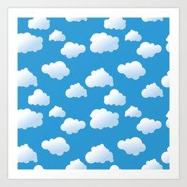 Cartoon clouds pattern Art Print