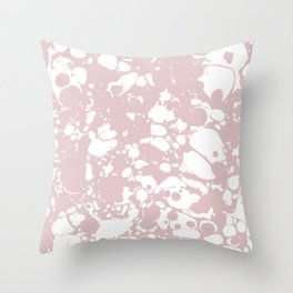 Blush Pink White Spilled Paint Mess Throw Pillow
