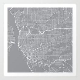 Buffalo Map, New York USA - Pewter Art Print
