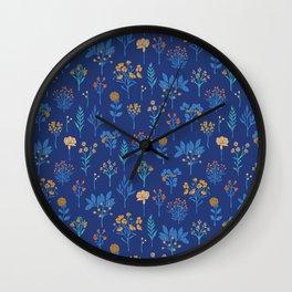 Royal Blue, Turquoise, Yellow & Orange Floral Pattern Wall Clock