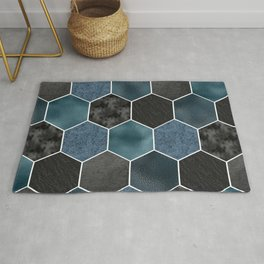 Midnight marble hexagons Rug