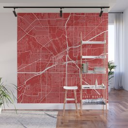 Fort Worth Map, USA - Red Wall Mural