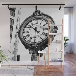 Vintage 1909 Fifth Avenue Building Analog Clock - Manhattan - New York City Icons - Amazing B&W Oil painting - Wall Mural