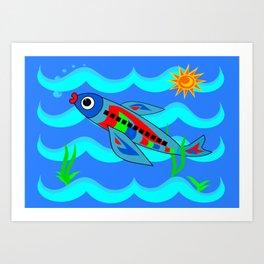 Whimsical Colorful Fish Airplane Art Print