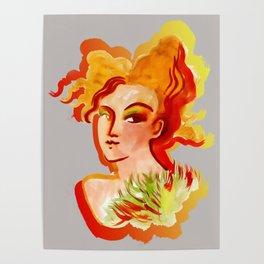 Deep orange yellow hues fashion portrait Poster