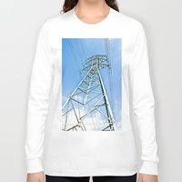 the wire Long Sleeve T-shirts featuring High Wire by Kim Ramage