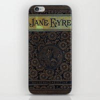 jane eyre iPhone & iPod Skins featuring Jane Eyre by Charlotte Bronte, Vintage Book Cover by ForgottenCotton