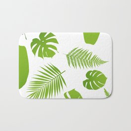 Tropical seamless pattern with palm and fern Bath Mat