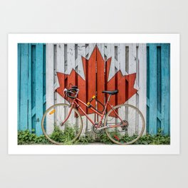 A Fence with the Canadian Maple Leaf and a Bicycle Art Print