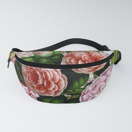 Vintage & Shabby Chic Green Large Dark Floral Camellia  Flowers Watercolor Pattern Fanny Pack