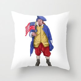 American Patriot Shouting Holding Flag Watercolor Throw Pillow