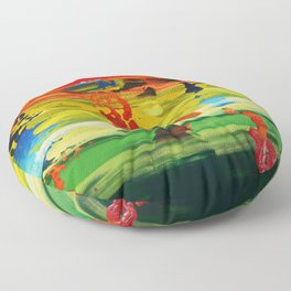 rainbow abstract landscap painting expressionism D05466 colorful mid century modern art by artist Ksavera Floor Pillow