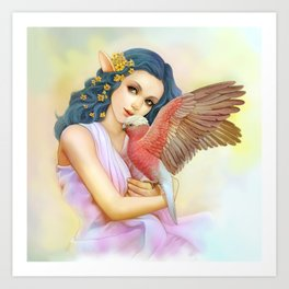 Blue haired elf and her galah Art Print