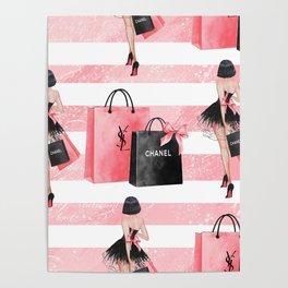 Fashion girl shopping Poster