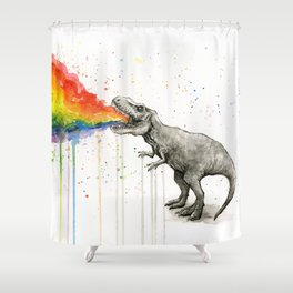 T-Rex Dinosaur Vomits Rainbow Shower Curtain