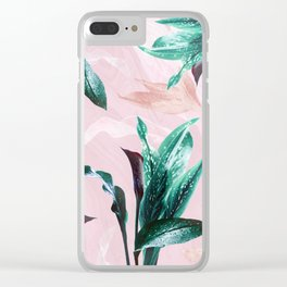 Tropical Floral on Pink. Odessa Calla Lily Clear iPhone Case