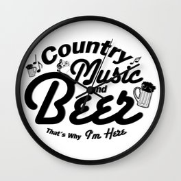 Country Music and Beer Wall Clock