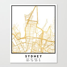 SYDNEY AUSTRALIA CITY STREET MAP ART Canvas Print