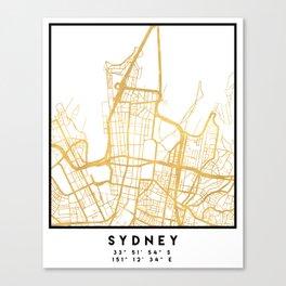 SYDNEY AUSTRALIA CITY STREET MAP ART Canvas Print
