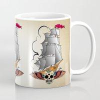 ship Mugs featuring ship by mark ashkenazi