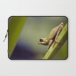 Arum lily frog on blue background - Macro Photography #Society6 Laptop Sleeve